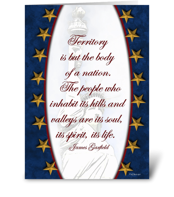 Gold Stars on Blue Patriotic Card greeting card