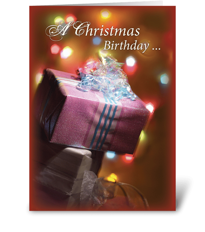 Christmas Birthday Present greeting card