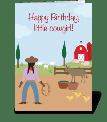 Little Cowgirl Birthday greeting card