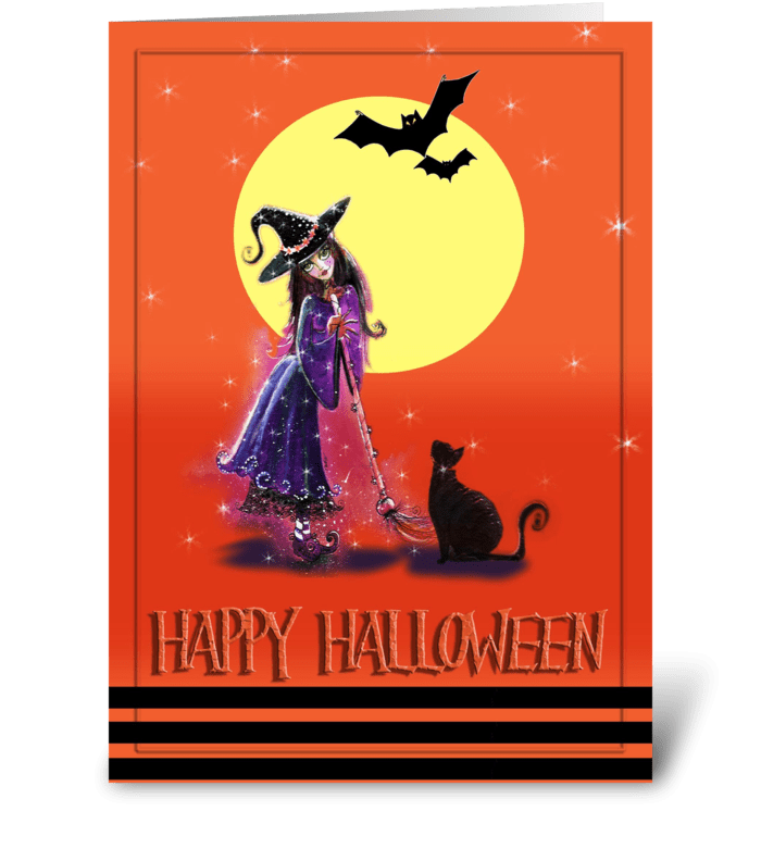 Festive Witch and Kitty, Halloween greeting card