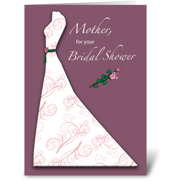 Mother, Bridal Shower Dress Silhouette greeting card