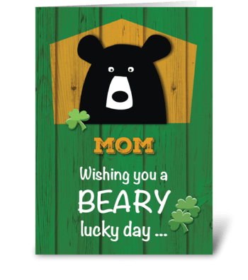 Mom, Bear & Shamrocks St. Patrick's Day greeting card