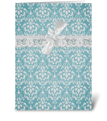 Aqua Baroque Vintage Lace Card greeting card