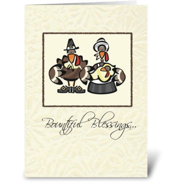 Turkey Family Thanksgiving greeting card