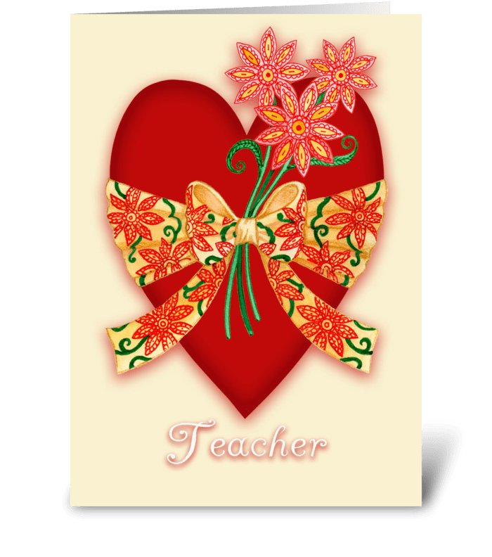 Red Valentine Heart for Teacher greeting card