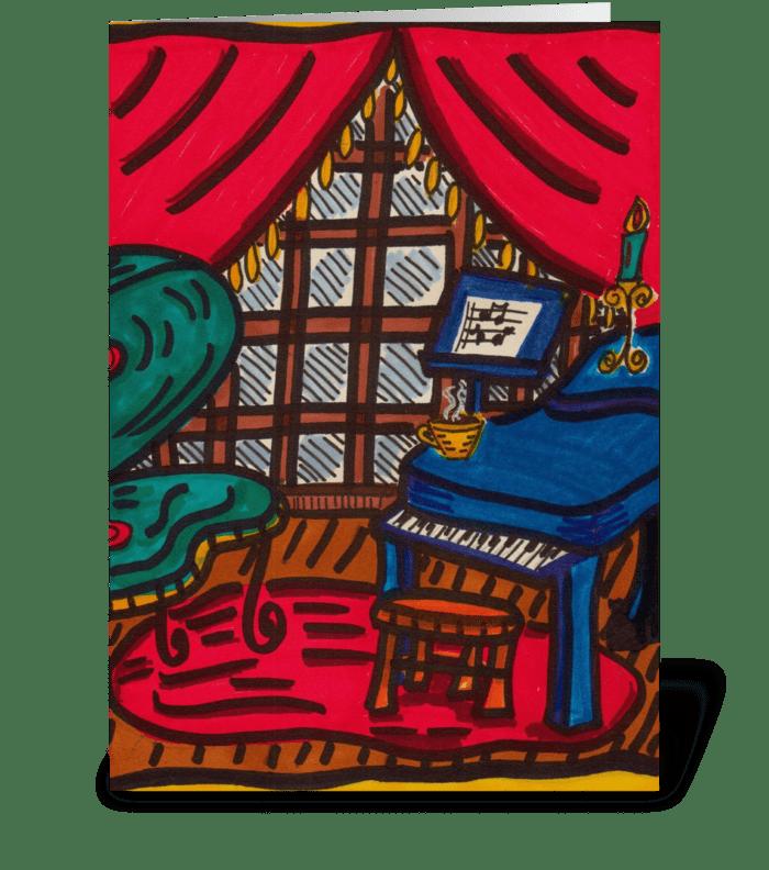 Piano and Coffee greeting card