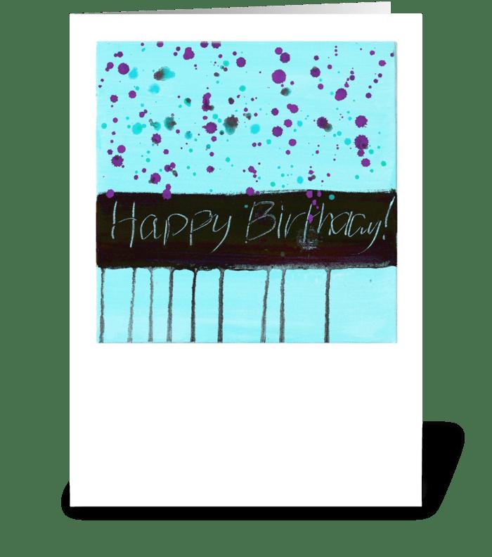 Happy Birthday - Black on Blue greeting card
