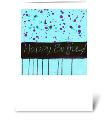 Happy Birthday - Black on Blue greeting card