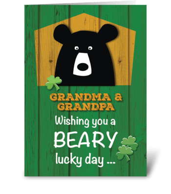 Grandma & Grandpa Bear on St. Patrick's greeting card