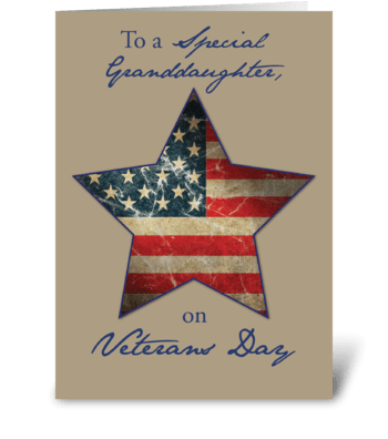 Granddaughter, Happy Veterans Day greeting card