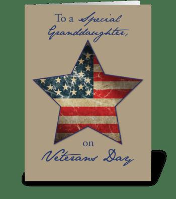Granddaughter, Happy Veterans Day greeting card