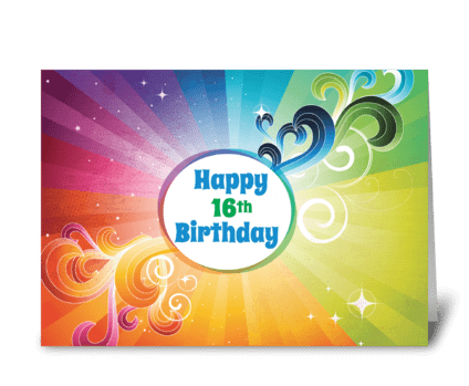 16th Birthday Religious Card Rainbow greeting card