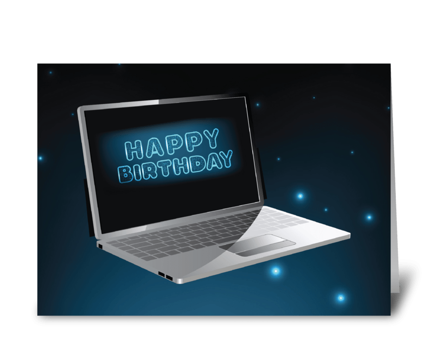 Computer Birthday Technology, Night Sky  greeting card