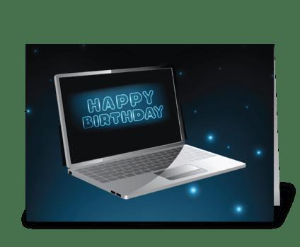 Computer Birthday Technology, Night Sky  greeting card
