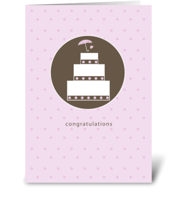 Bridal Shower Cake, Brown and Pink greeting card