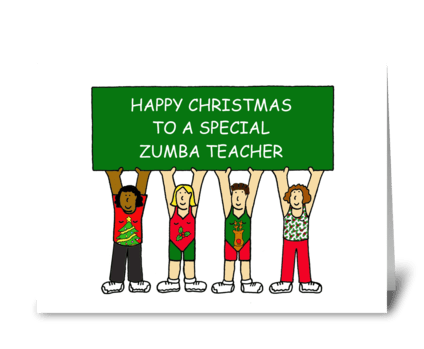 Zumba Teacher Happy Christmas greeting card