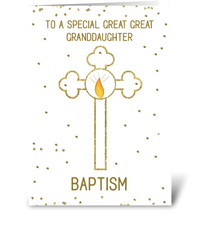 Great Great Granddaughter Baptism Gold greeting card