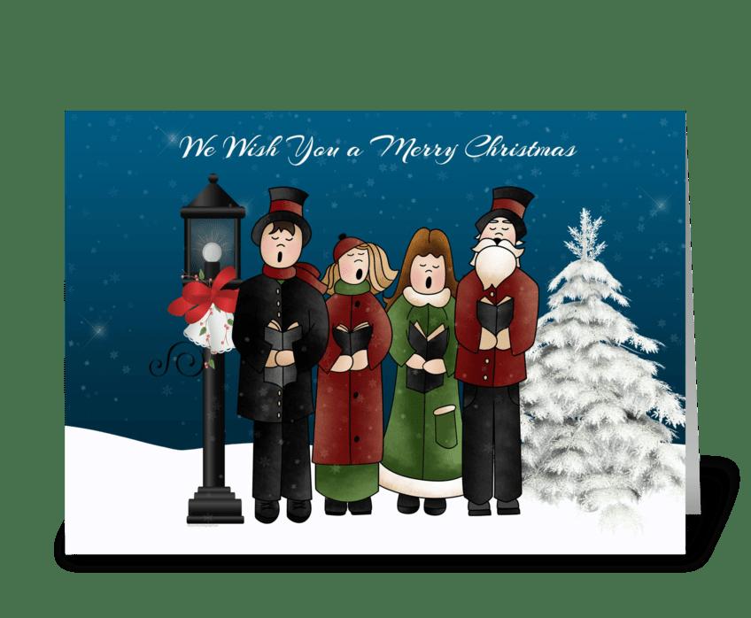 Carolers Winter Scene greeting card