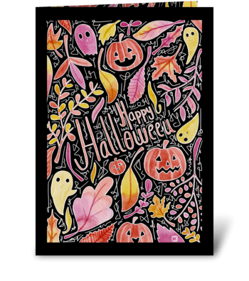 Floral Watercolor Halloween  greeting card