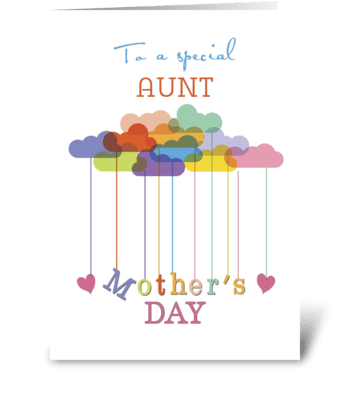 Aunt, Cute Mother's Day Rainbow Clouds greeting card