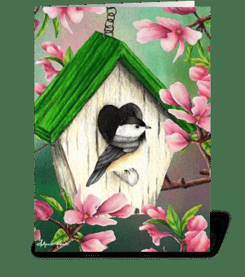 Springtime Chickadee greeting card