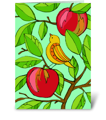 Apple Bird greeting card