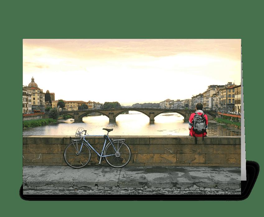 Blue Bike Boy greeting card