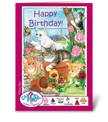 Birthday Kittens greeting card