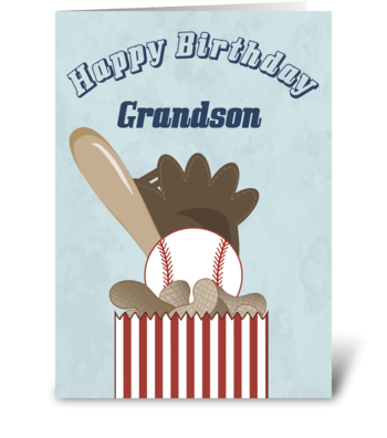 Baseball Grandson - Happy Birthday greeting card