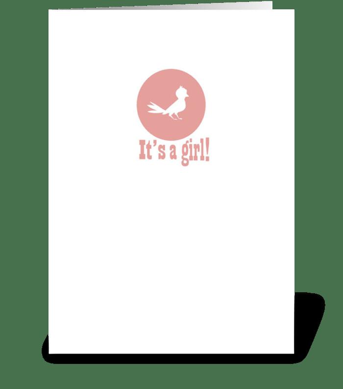 It's a Girl! (Bird) greeting card