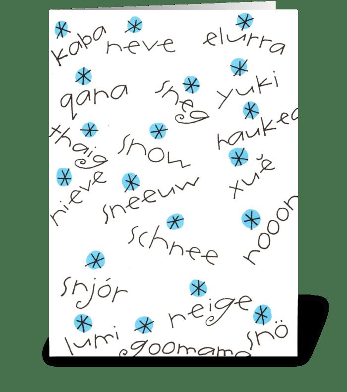 just say snow greeting card