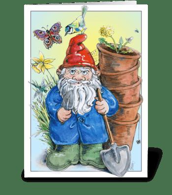 Gardening Gnome greeting card