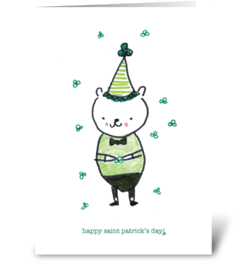 Shamrock Bear greeting card