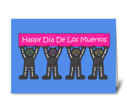 Day of the Dead, Cartoon Cats. greeting card