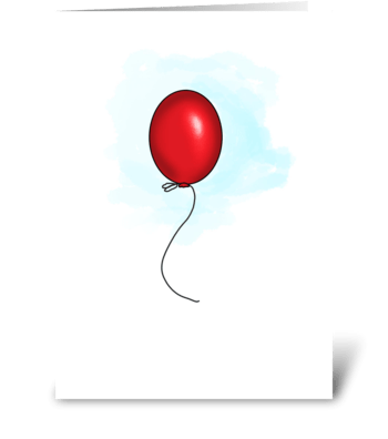 One Red Balloon  greeting card