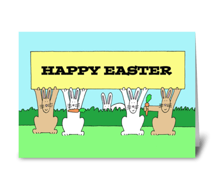 Happy Easter Fun Bunnies with Carrots. greeting card
