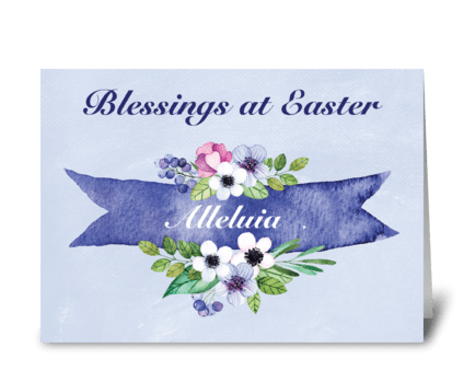 Easter Watercolor Floral Banner greeting card