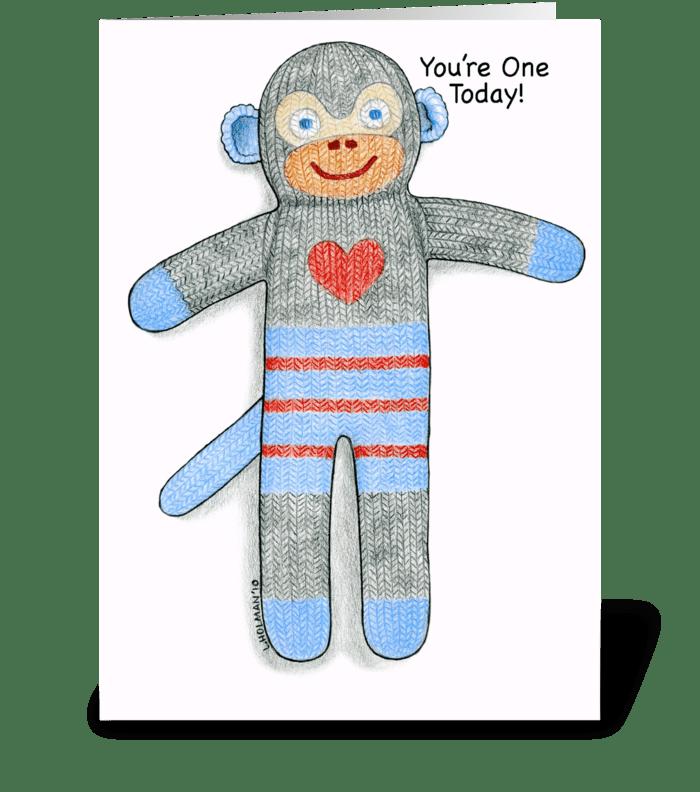 Sock Monkey One Year Birthday greeting card