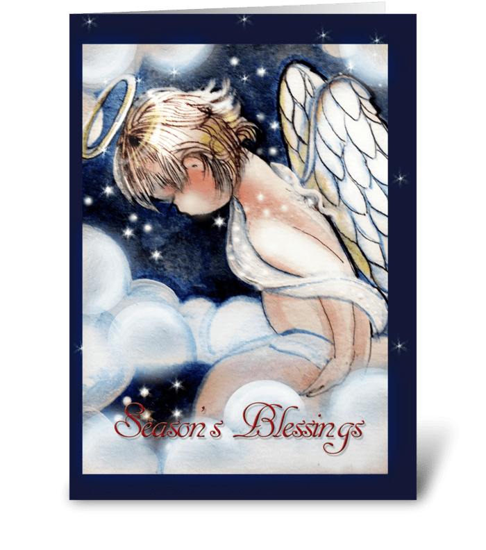tiny Angel Blessings, Holiday Greeting greeting card