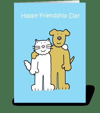 Happy Friendship Day, Cartoon Pets. greeting card