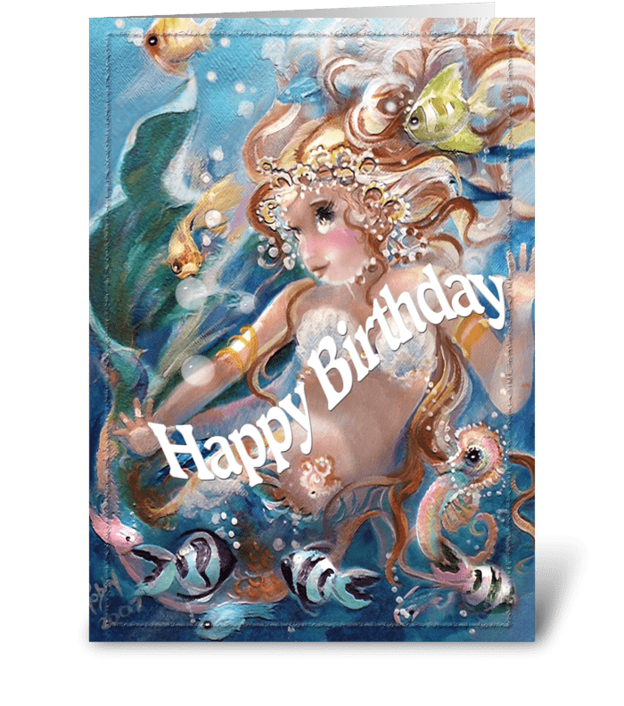 Playful Mermaid, Happy Birthday greeting card