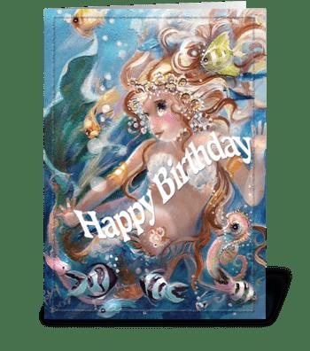 Playful Mermaid, Happy Birthday greeting card