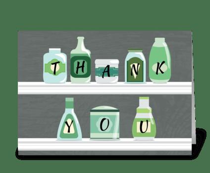 Bottles on Pantry Shelf - Thank You greeting card