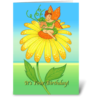 It's Your Birthday Yellow Flower greeting card
