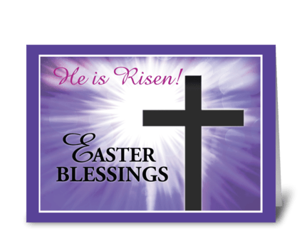Easter Blessings Cross Starburst greeting card