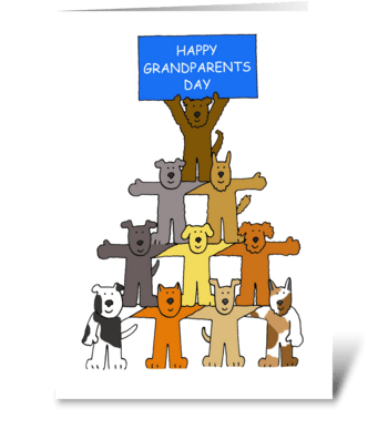 Grandparents Day, Cartoon Dogs. greeting card