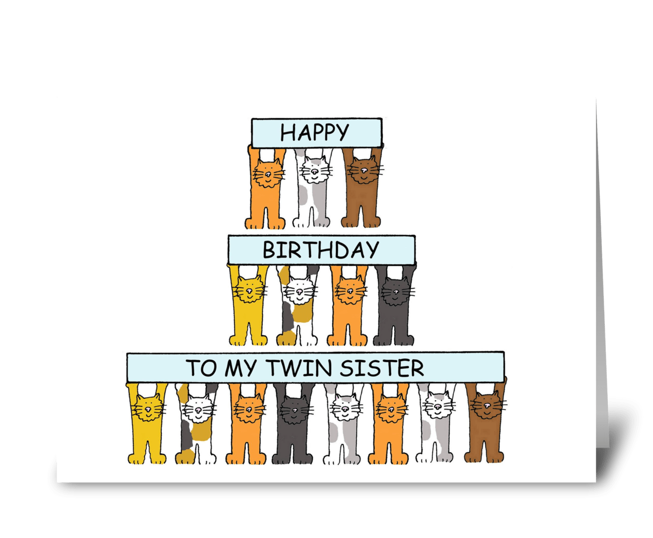 Cats Birthday Card For Twin Sister