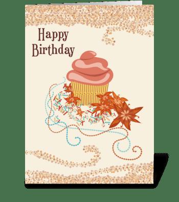 Cupcake Flowers Swirls Happy Birthday  greeting card