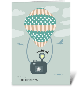 Sweetheart Camera Hot Air Balloon Happy  greeting card