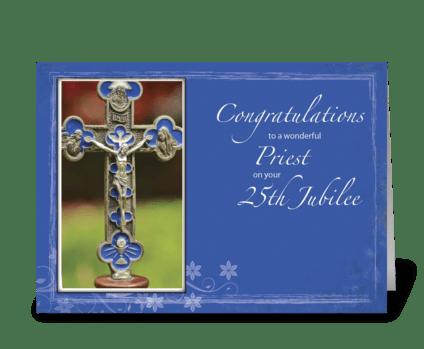 25th Jubilee Priest Cross greeting card